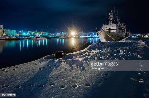 Otaru harbor at night, Hokkaido, Japan