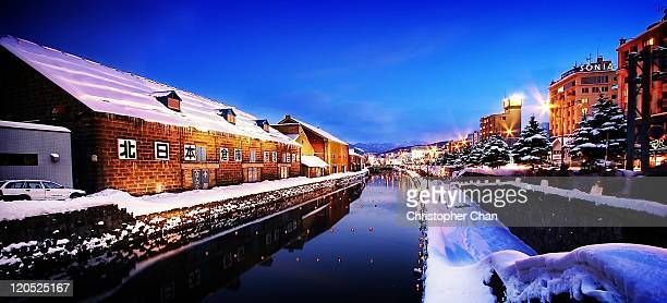 otaru location - sapporo snow festival stock photos and pictures