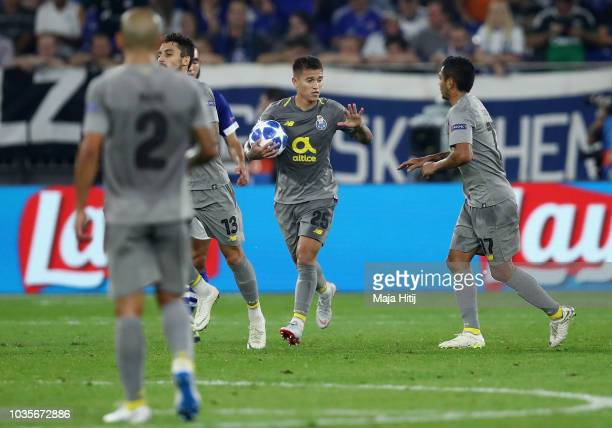 Otavio of FC Porto celebrates after he scores his sides first goal from the penalty spot during the Group D match of the UEFA Champions League...