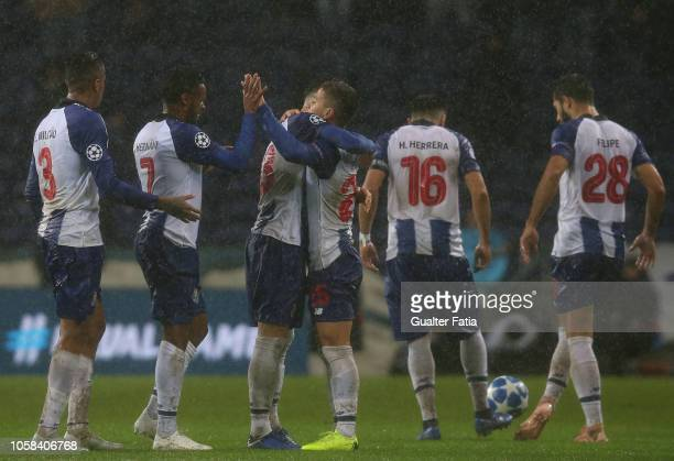 Otavio of FC Porto celebrates with teammates after scoring a goal during the UEFA Champions League Group D match between FC Porto and Lokomotiv...
