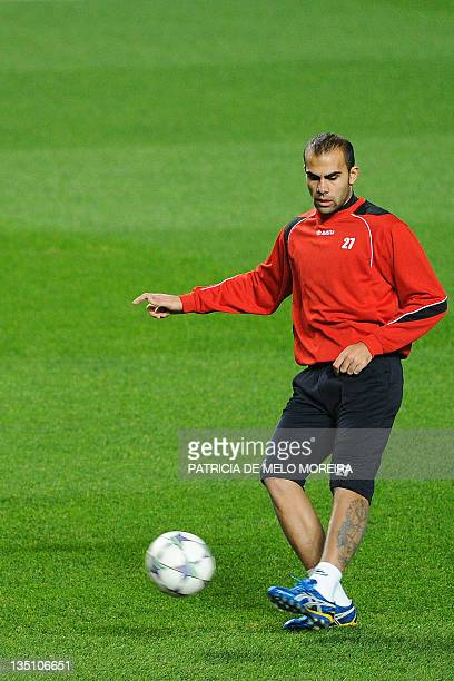 Otelul Galati's forward Marius Pena attends a training session at Luz Stadium in Lisbon, on December 6 on the eve of their Champions League football...