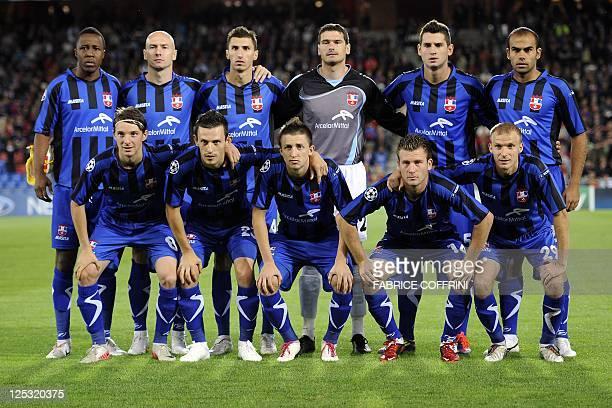 FC Otelul Galati's players defender Liviu Antal defender Cornel Rapa defender Adrian Salageanu defender Silviu Ilie midfielder Gabriel Giurgiu...