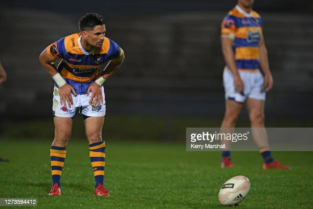 Otere Black of Bay of Plenty lines up a kick during the round 2 Mitre 10 Cup match between Bay of Plenty and Southland at Rotorua International...