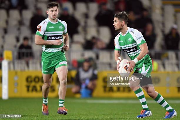 Otere Black of Manawatu charges forward during the round 7 Mitre 10 Cup match between Canterbury and Manawatu at Orangetheory Stadium on September...