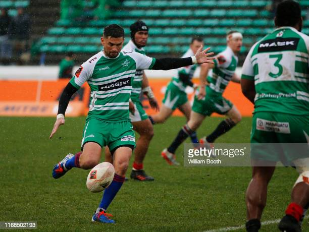 Otere Black of Manawatu kicking during the round 2 Mitre 10 Cup match between Manawatu and Taranaki at Central Energy Trust Arena on August 17, 2019...