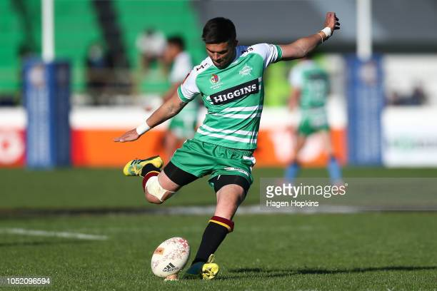 Otere Black of Manawatu kicks during the round nine Mitre 10 Cup match between Manawatu and Southland at Central Energy Trust Arena on October 14...