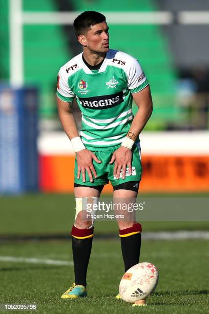 Otere Black of Manawatu lines up a kick during the round nine Mitre 10 Cup match between Manawatu and Southland at Central Energy Trust Arena on...