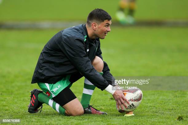 Otere Black of Manawatu lines up a kick during the round one Mitre 10 Cup match between Manawatu and Wellington at Central Energy Trust Arena on...