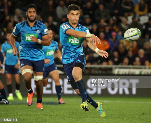 Otere Black of the Blues passes the ball during the round 10 Super Rugby match between the Highlanders and the Blues at Forsyth Barr Stadium on April...