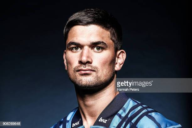 Otere Black poses during the Blues Super Rugby headshots session at Blues HQ on January 17 2018 in Auckland New Zealand
