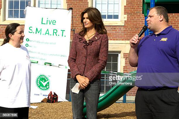 BB Otero Executive Director of CentroNia model and spokeswoman Cindy Crawford and Dave Flanigan Executive Director of KABOOM speak in front of a...