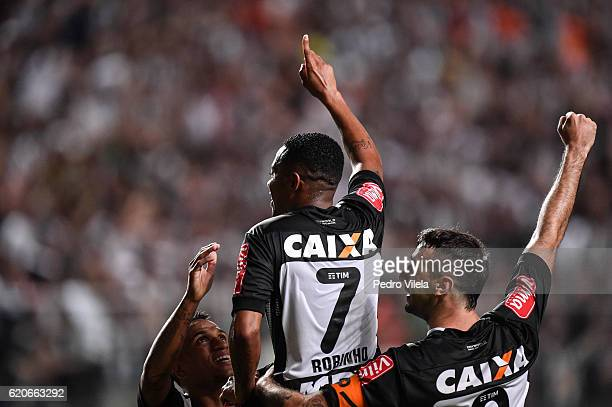 Otero Robinho and Lucas Pratto of Atletico MG celebrates a scored goal against Internacional during a match between Atletico MG and Internacional as...