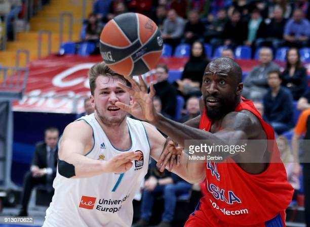 Othello Hunter #44 of CSKA Moscow competes with Luka Doncic #7 of Real Madrid in action during the 2017/2018 Turkish Airlines EuroLeague Regular...