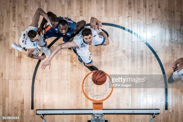 Othello Hunter of CSKA Moscow on attack against Janari Jõesaar and Thomas van der Mars of BC Kalev Cramo during the VTB United League game as BC...