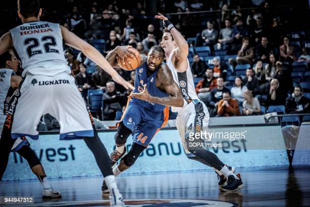 Othello Hunter of CSKA Moscow on attack against Kristjan Kangur of BC Kalev Cramo during the VTB United League game as BC Kalev Cramo lost 95:105 to...