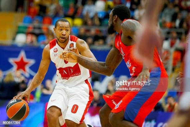 Othello Hunter of CSKA Moscow vies with Andrew Goudelock of AX Olimpia Milan during the Turkish Airlines Euroleague match between CSKA Moscow and AX...