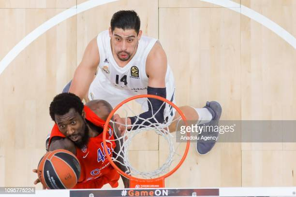 Othello Hunter of CSKA Moscow vies with Gustavo Ayon of Real Madrid during the Turkish Airlines Euroleague match between CSKA Moscow and Real Madrid...