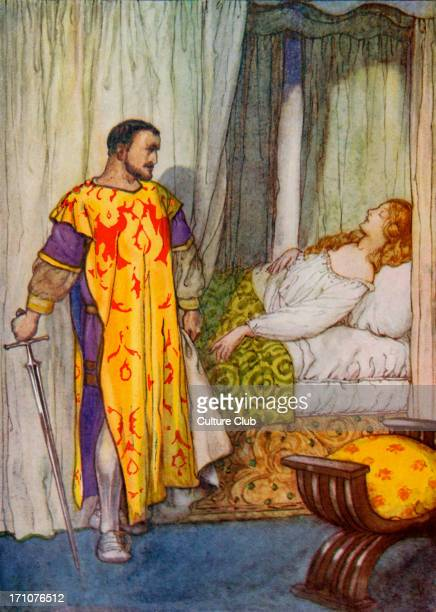 Othello Play by William Shakespeare Caption reads 'When he saw her asleep Othello thought he would not shed her blood nor scar that white skin of...
