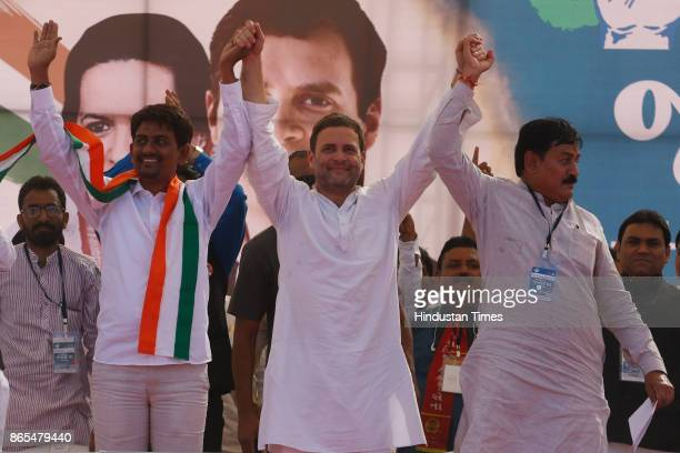 Other Backward Class leader Alpesh Thakor joined the Congress party in the presence of Congress vice president Rahul Gandhi on October 23 2017 in...
