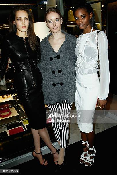 Othilia Olga Sorokina and Monrose Melodie attend the Tom Ford Flagship Opening Cocktail as part of Paris Fashion Week at on March 1 2013 in Paris...