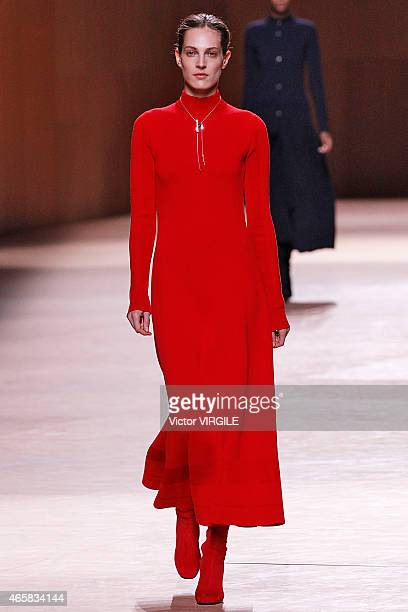 Othilia Simon walks the runway during the Hermes show as part of the Paris Fashion Week Womenswear Fall/Winter 2015/2016 on March 9 2015 in Paris...