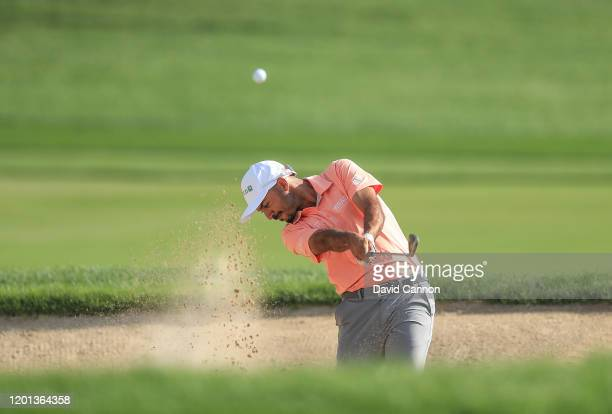 Othman Almulla of Saudi Arabia plays his second shot on the ninth hole during the first round of the Omega Dubai Desert Classic on the Majlis Course...