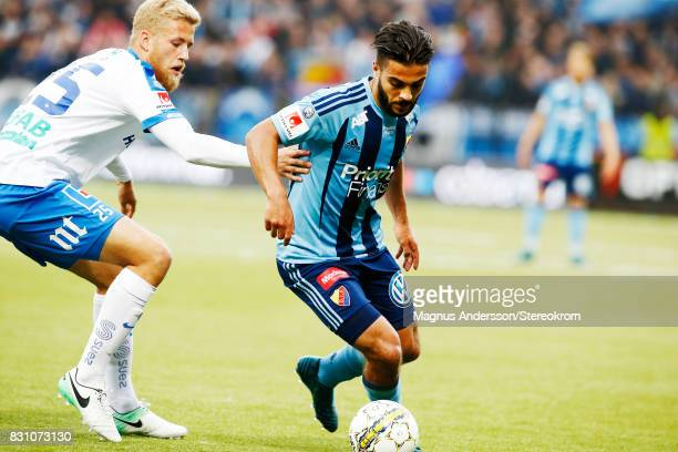 Othman El Kabir of Djurgardens IF and Filip Dagerstal competes for the ball during the Allsvenskan match between IFK Norrkoping and Djurgardens IF on...