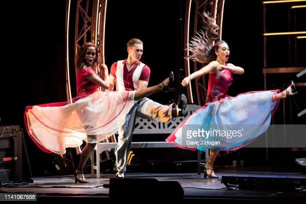 Oti Mabuse AJ Pritchard and Katya Jones perform on stage during The Strictly Professionals Tour final dress rehearsal at The Lowry on May 3 2019 in...