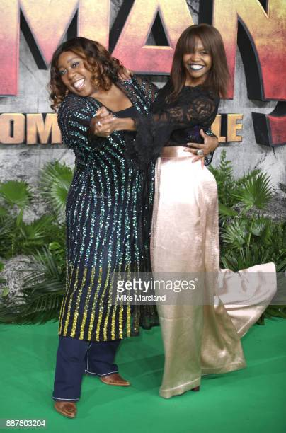 Oti Mabuse and Chizzy Akudolu attend the 'Jumanji Welcome To The Jungle UK premiere held at Vue West End on December 7 2017 in London England