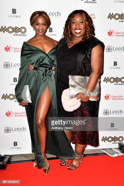Oti Mabuse and Chizzy Akudolu attend the MOBO Awards at First Direct Arena Leeds on November 29 2017 in Leeds England