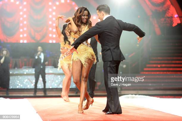 Oti Mabuse and Gorka Marquez attend the 'Strictly Come Dancing' Live photocall at Arena Birmingham on January 18 2018 in Birmingham England Ahead of...