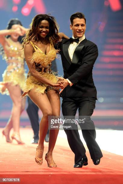 Oti Mabuse and Gorka Marquez attend the 'Strictly Come Dancing' Live dress rehearsal at Arena Birmingham on January 18 2018 in Birmingham England...