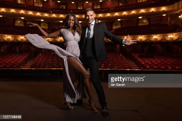 Oti Mabuse and husband Marius Lepure pose onstage at the London Coliseum on July 23, 2020 in London, England. Oti Mabuse and husband Marius Lepure...