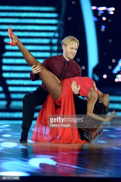 Oti Mabuse and Jonnie Peacock attend the 'Strictly Come Dancing' Live dress rehearsal at Arena Birmingham on January 18 2018 in Birmingham England...