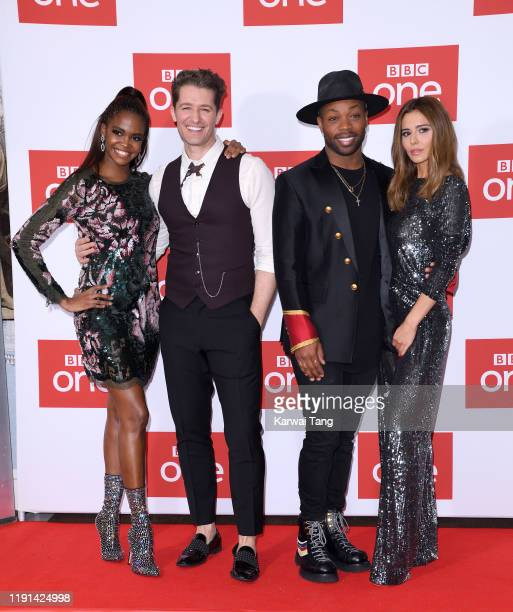 "Oti Mabuse, Matthew Morrison, Todrick Hall and Cheryl attend ""The Greatest Dancer"" photocall at Soho Hotel on December 02, 2019 in London, England."