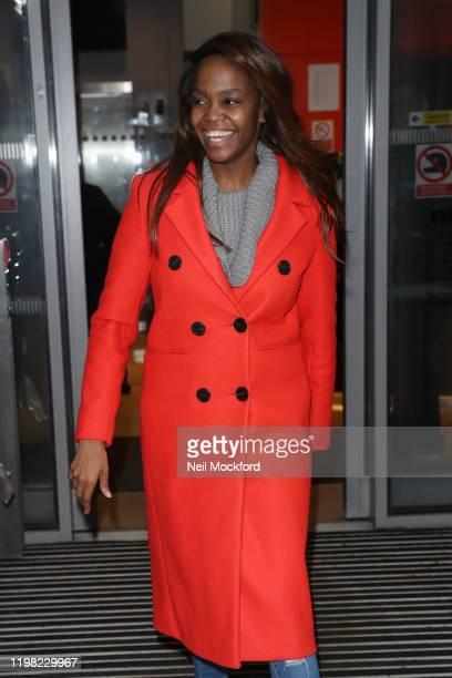 Oti Mabuse seen leaving BBC Radio 2 on January 08, 2020 in London, England.