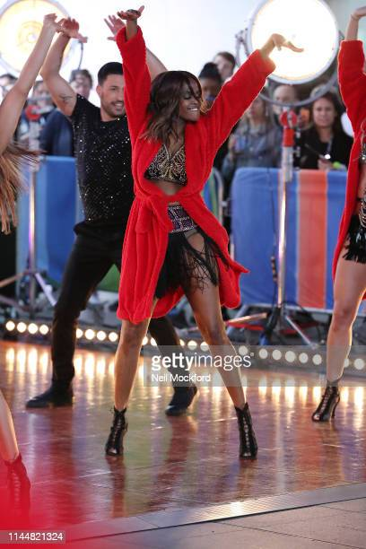 Oti Mabuse seen rehearsing with the Strictly Come Dancing dancers ahead of their One Show performance at BBC Broadcasting House on April 24 2019 in...