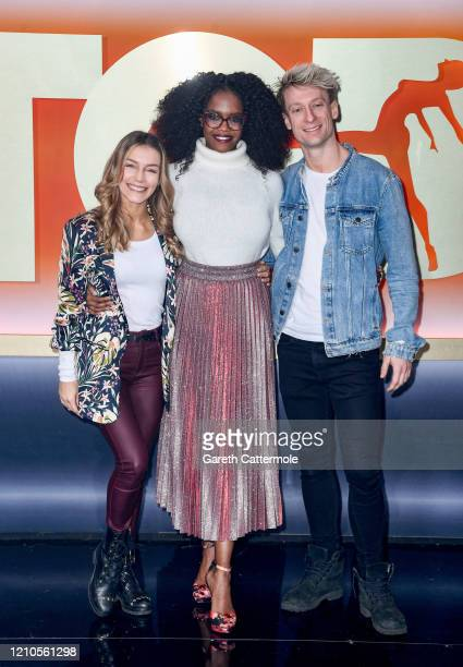 """Oti Mabuse with finalists Jowita Przystal and Michael Danilczuk aka Michael and Jowita at """"The Greatest Dancer"""" photocall at LH2 Studios on March 05,..."""