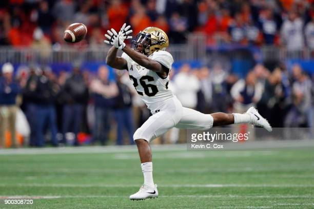 Otis Anderson of the UCF Knights is unable to make a reception in the first half against the Auburn Tigers during the ChickfilA Peach Bowl at...
