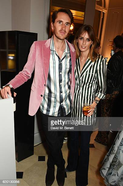 Otis Ferry and Lady Alice Manners wearing Burberry attend an event to celebrate 'The Tale of Thomas Burberry' at Burberry's all day cafe Thomas's on...