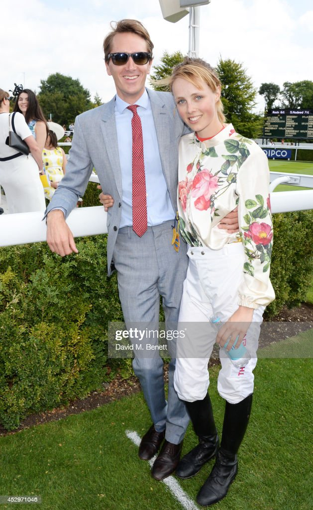 Otis Ferry (L) and Magnolia Cup winner Edie Campbell attend Glorious Goodwood Ladies Day at Goodwood on July 31, 2014 in Chichester, England.