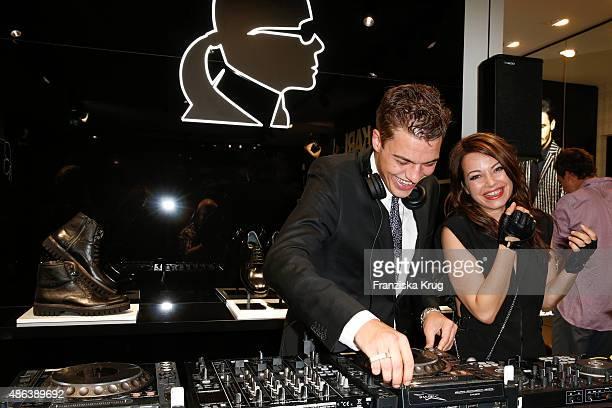 Otis Hagen and his sister Cosma Shiva Hagen alias Djane Cosmic Sista attend the Karl Lagerfeld Men's Store Opening on September 03 2015 in Berlin...