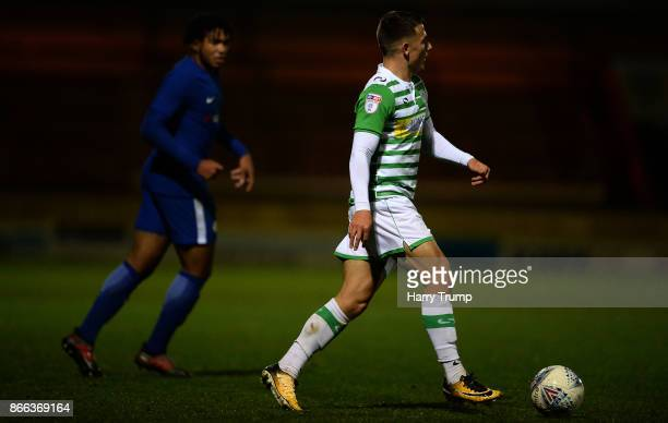 Otis Khan of Yeovil Town controls the ball and looks for a pass during the Checkatrade Trophy match between Yeovil Town and Chelsea U21 at Huish Park...
