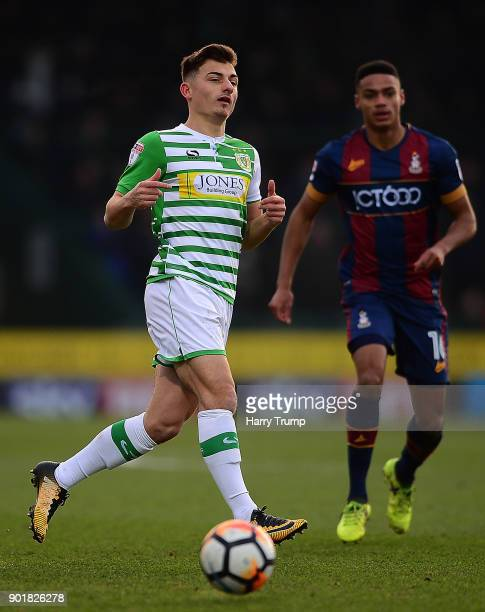Otis Khan of Yeovil Town controls the ball during The Emirates FA Cup Third Round match between Yeovil Town and Bradford City at Huish Park on...