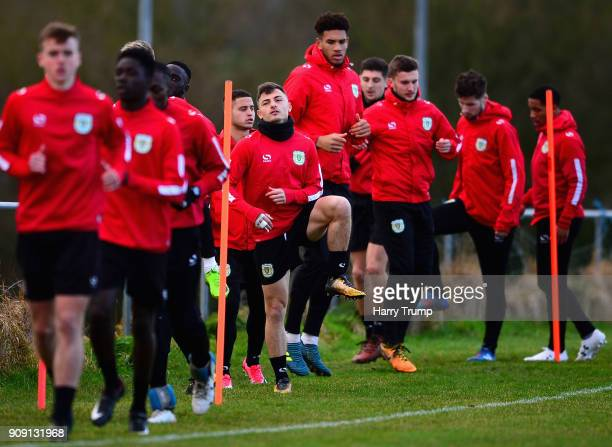 Otis Khan of Yeovil Town in action with his team mates during a training session during the Yeovil Town media access day at Huish Park on January 23...