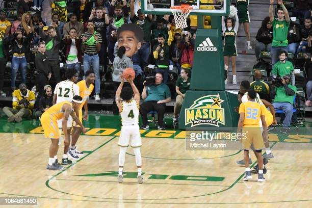 Otis Livingston II of the George Mason Patriots takes a foul shot during a college basketball game against the Southern University Jaguars at the...