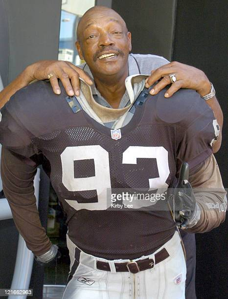 Otis Sistrunk a 1974 Pro Bowl defensive lineman and member of the Oakland Raiders Super XI championship team poses outside The Raider Image at the...