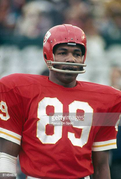 Otis Taylor of the Kansas City Chiefs is on the field during Super Bowl IV against the Minnesota Vikings at Tulane Stadium in New Orleans Louisiana...