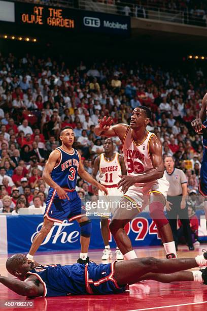 Otis Thorpe of the Houston Rockets reacts after a shot during Game One of the NBA Finals against the New York Knicks on June 8 1994 at The Summit in...