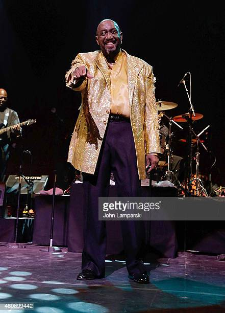Otis Williams of the Temptations performs during The Temptations And The Four Tops On Broadway Curtain Call at Palace Theatre on December 29 2014 in...